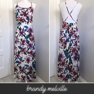 Brandy Melville Dresses - Brandy Melville Tropical Floral Crisscross Maxi